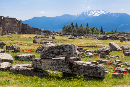 The ruins of the Macedonian cities, items, walls, houses, columns Stock Photo