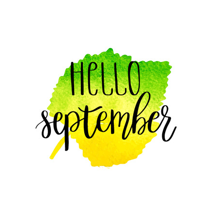 HI: Hello september hand lettering phrase on yellow and green watercolor leaf background