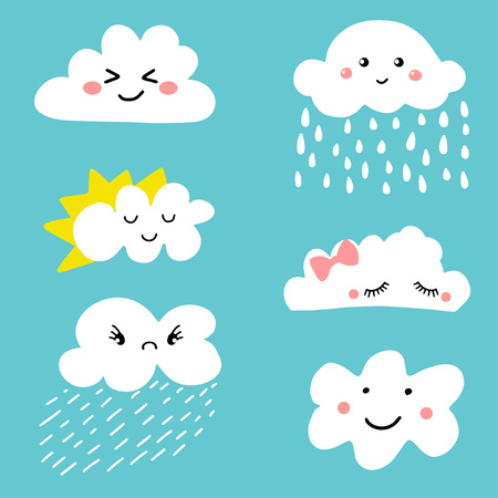 Cute and adorable cartoon weather clouds icon set. Can be used for textile, ptints, child clothing, cards, posters and more Illustration