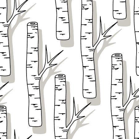 Birch Tree Pattern. Black and white trees seamless background on white