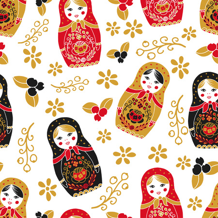 Traditional nesting doll matryoshka seamless pattern.