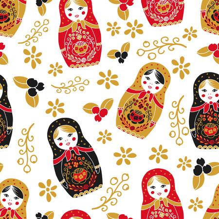 Traditionelle Verschachtelung Matryoshka nahtlose Muster. Standard-Bild - 82865328
