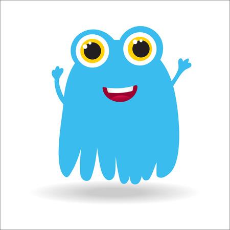 humorous: Cute monster vector illustration. Blu monster for baby and child design.