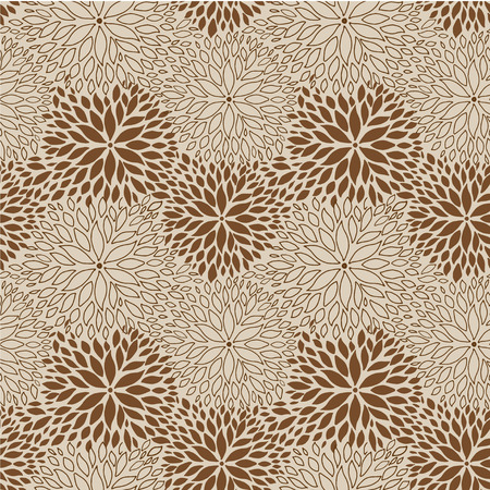 aster: Spring flower pattern. Brown and beige Chrisanthemum flowers for web, print, textile, wallpaper design Illustration