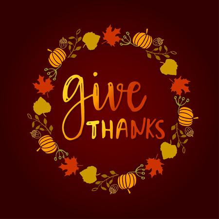 Geef bedankt seizoen hand getrokken vector. Cirkelframe van bladeren, pompoenen, eikels en bessen met tekst belettering vakantie zin op donkere achtergrond
