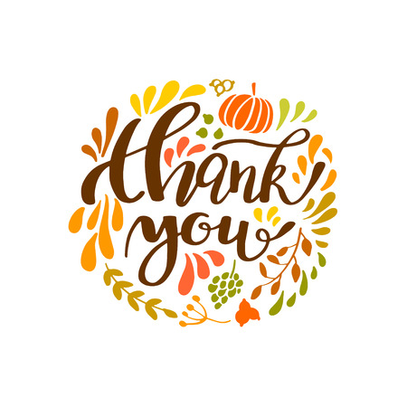 Happy Thanksgiving card design with leaves, fruits and pumpkin round frame and text Thank you, vector illustration. Lettering design Vettoriali