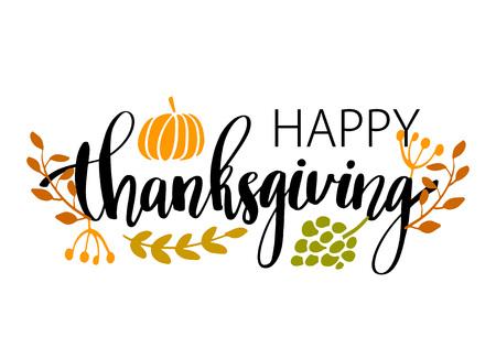 Affiche de typographie Happy Thanksgiving dessinés à la main. Citation de célébration Joyeux thanksgiving avec la nourriture de récolte et les feuilles pour la carte postale de thanksgiving, l'icône ou le badge. Calligraphie de style vintage Vector lettrage citation de vacances Vecteurs