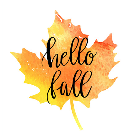 Hello fall hand lettering phrase on orange watercolor maple leaf background Illustration