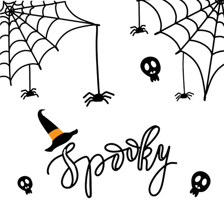 Cute Spiders and Web on orange background with text Spooky. Happy Halloween vector illustration on white background Illustration