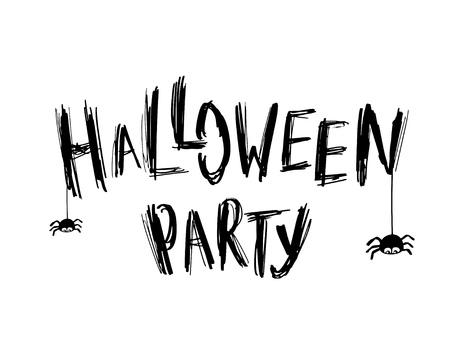spider web: Halloween Party card with Text and small spiders. Halloween poster, invitation or banner design