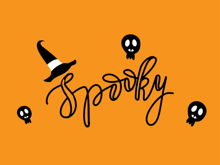 spider web: Cute Spiders and Web on orange background with text Spooky. Happy Halloween vector illustration Illustration