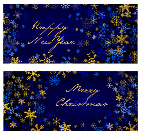 gloss: Set of vector christmas and New Year horizontal banners 2018. Silver and golden snowflakes on dark blue background Illustration