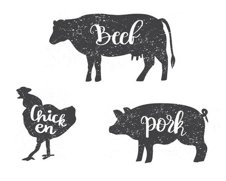 Silhouettes de poulet, de vache et de cochon avec texte de lettrage Boeuf, poulet, porc. Peut être utilisé pour le menu, boucherie, restaurant