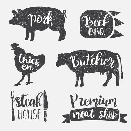 Conjunto de estilo vintage de placa retro, etiqueta, plantillas de diseño de logotipo para carnicería, charcutería, tienda de delicatessen, mercado de carnicería, café o restaurante. Diseño de letras vectoriales