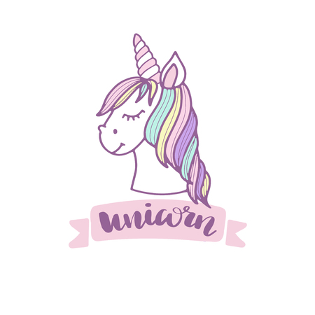 Cute unicorn. A  Vector cartoon character illustration.
