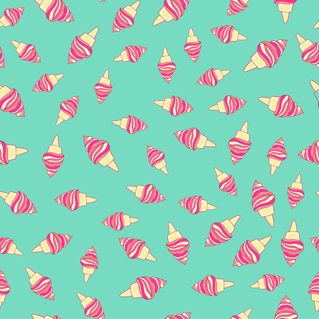 Cute pink ice cream cones seamless pattern on blue background. Illustration