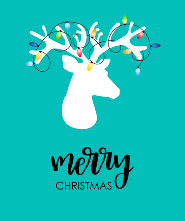Modern flat style Christmas card with reindeer on blue background. Illustration