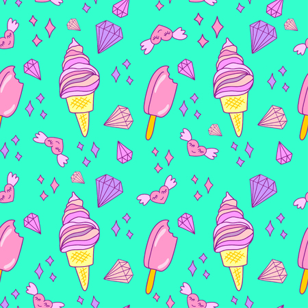 Cute pink and violet seamless pattern with ice cream cones on blue background.