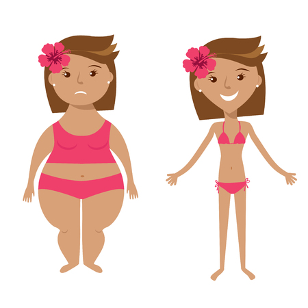 swimsuite: Fat and slim girls on white background.