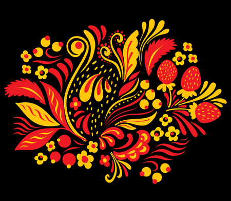 Russian folk style Hohloma element in red blue and yellow colors on black background. Illustration
