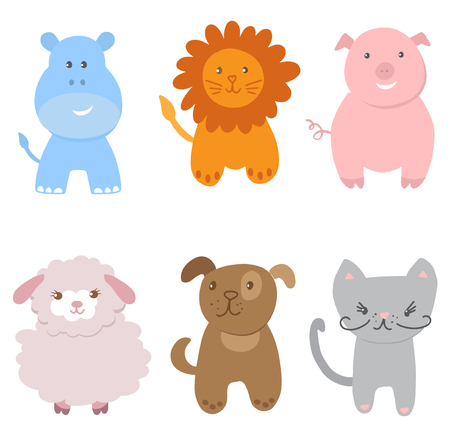 Cute Vector Set of Small Baby Animals. Cat, dog, pig, lion, sheep and hippo isolated on white background. Vector illustration for textile, print, child cloth, wallpaper, wrapping. Child illustration in soft pastel colors.