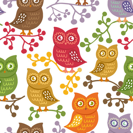 Cute owls on white. Vector seamless pattern with hand drawn birds. Colorful brignt owls background. Can be used for textile, print, child cloth, wallpaper, notebook, wrapping.