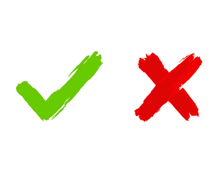 Tick and cross icons, yes and no symbols in green an red colors. Vector illustration, brush painting imitation.