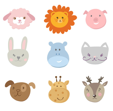 Big set, collection of cute faces of baby animals on white background. Included sheep, lion, pig, rabbit, hare, hippo, cat, dog, giraffe, deer.