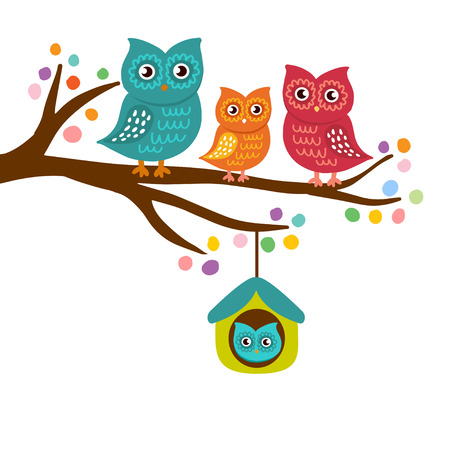 Owls family sitting on a branch. Mother, father, son and dauther on the tree. Family concept. Can be used for textile, print, child cloth, wallpaper, notebook, wrapping.