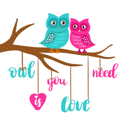 Cute loving owls couple sitting on the tree branch. Owl you need is love lettering poster. Tshirt, bag, school book or notepad design