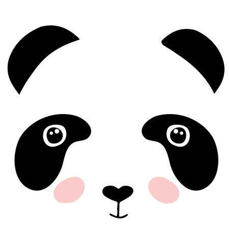 Cute panda face isolated on white background. Flat style illustration for clothing print, tote bags, children print on t-shirt for girls and boys.