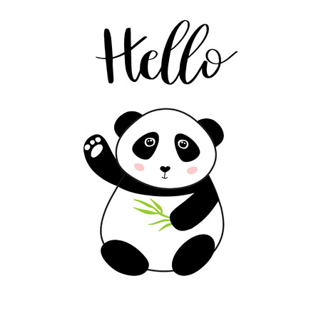 Panda. Chinese panda bear with bamboo leaf in hands and text Hello. Cute vector animal illustration for cards, web, prints, tshirts, tote bags design.. Illustration