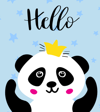 Panda. Chinese panda bear in gold crown and text Hello. Cute vector animal illustration for cards, web, prints, tshirts, tote bags design.. Illustration