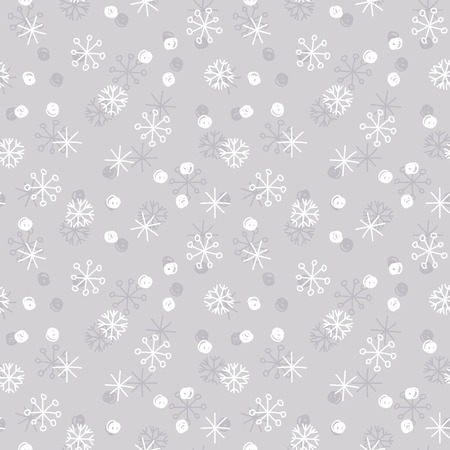 Vector seamless winter pattern background with white and grey snowflakes on silver grey background. Can be used for textile, parer, scrapbooking, wrapping, web and print design Illustration
