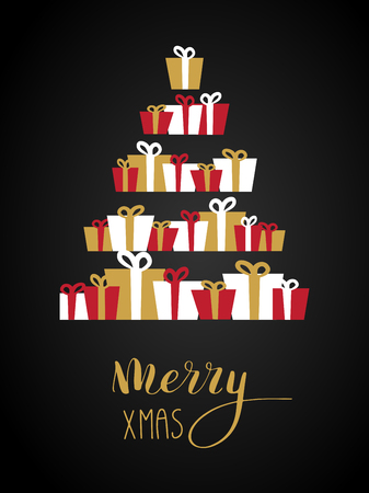 Christmas tree from bright gift boxes and text Merry Christmas. Vector background for holiday card, print, banner, poster, wallpaper, wrapping.