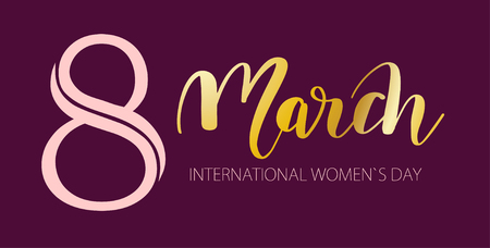 March 8 illustration; Happy international womans day lettering greeting card in Gold and pink text on dark background for Card, tag, poster, banner design Illustration