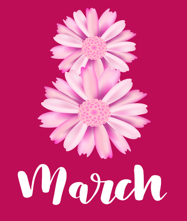 Happy Womens Day. Handwritten gold lettering phrase in flower frame. 8 March party invitation, poster, banner or card design