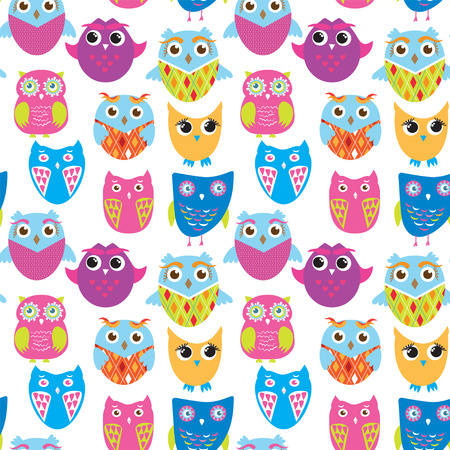 Seamless vector pattern with cartoon doodle owls. Cute birds background. Bright color owls on white background. Nice design for kids.