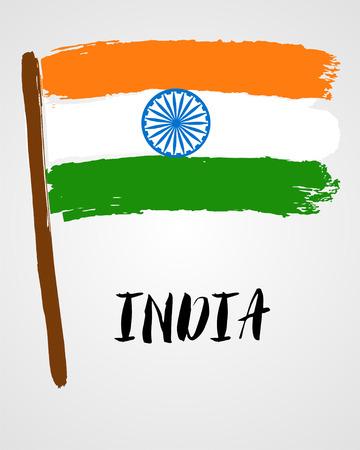 Grunge brush stroke with India national flag isolated on light grey background