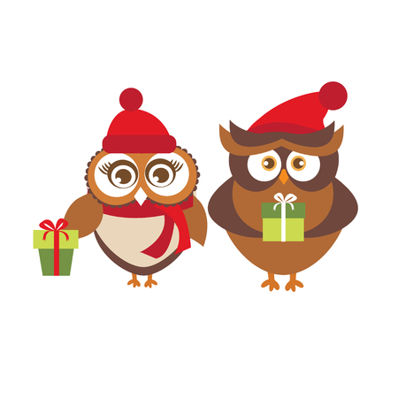 Template of Christmas Holiday Greeting card with couple of cute owls in red winter hats holding present boxes. Vector illustration isolated on white