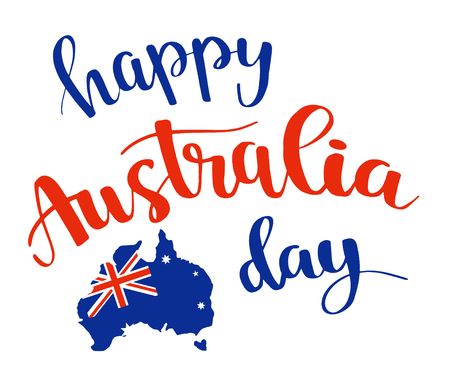 Happy Australia day brush lettering card design, calligraphy poster. Çizim