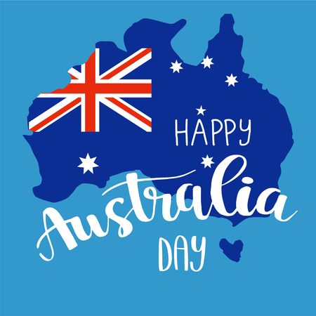 Happy Australia day brush lettering card design, calligraphy poster. Illusztráció