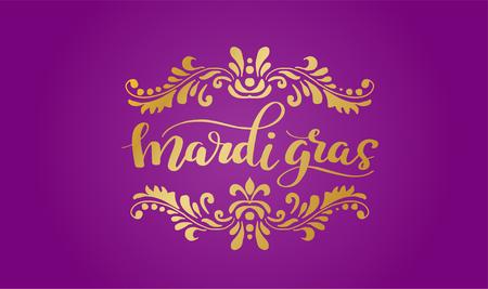 Gold Mardi Gras Lettering vector illustration