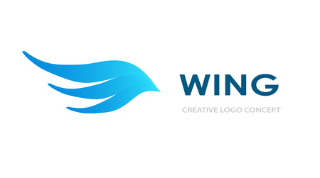 Abstract blue wing icon design template