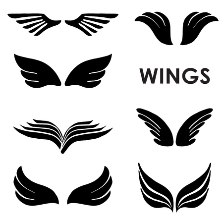 Set of black vector silhouettes wings isolated on white background. Elements for logos, tattoos, labels and badges designs.