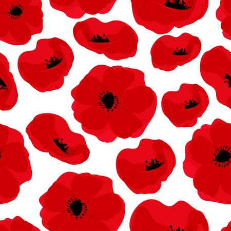Modèle sans couture de pavot. Coquelicots rouges sur fond blanc. Peut être utilisé pour le textile, les papiers peints, les impressions et la conception web. Illustration vectorielle