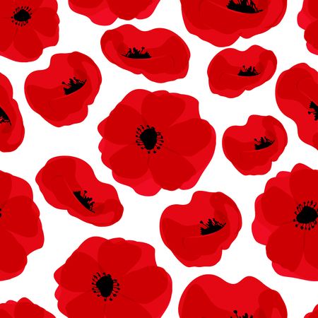 Poppy seamless pattern. Red poppies on white background. Can be uset for textile, wallpapers, prints and web design. Vector illustration Vettoriali