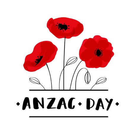 ANZAC DAY. Australia New Zealand Army Corps - ANZAC Day card with red poppies and lettering text. Vector illustration on white background Çizim
