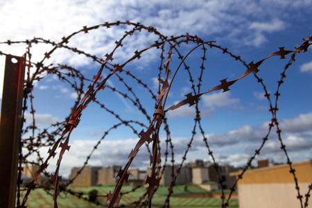 Prison. Barbed wire. Barbed wire on blue sky background with white clouds. Wire boom. Military conflict . Syria.