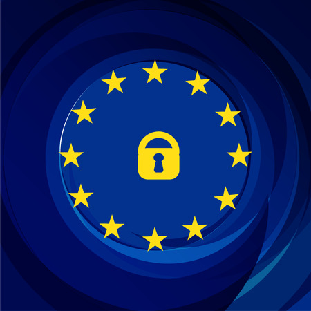 General Data Protection Regulation - GDPR. 25 May 2018. Vector illustration with stars on dark navy background